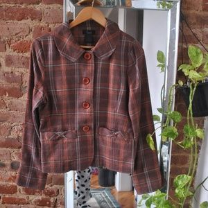 Jackets & Blazers - Vintage 70s Style Brown Wool Plaid Blazer